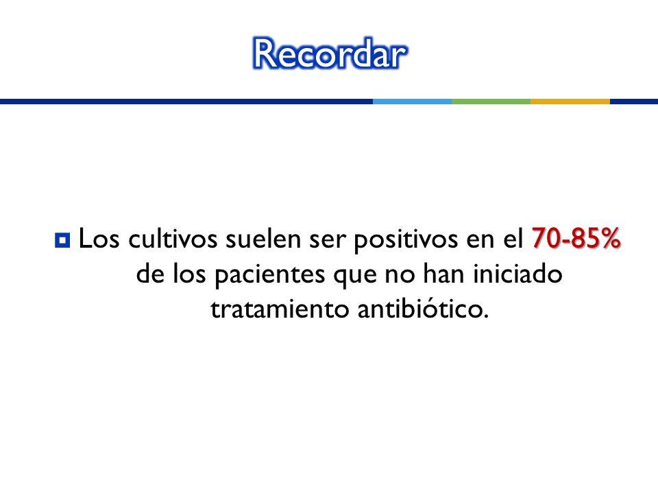 Recordar Los cultivos suelen ser positivos en el 70-85% de los pacientes que no han iniciado tratamiento antibiótico.