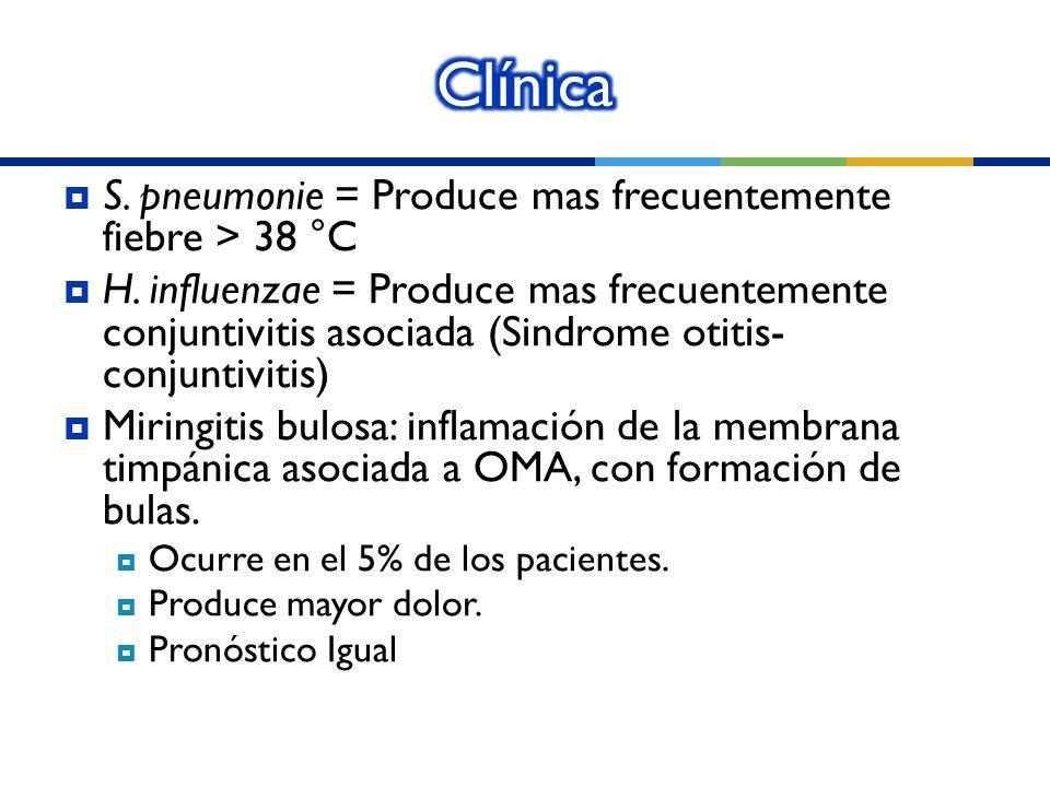 Clínica S. pneumonie = Produce mas frecuentemente fiebre > 38 °C
