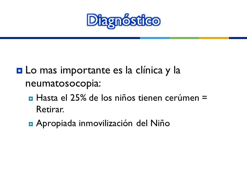 Diagnóstico Lo mas importante es la clínica y la neumatosocopia: