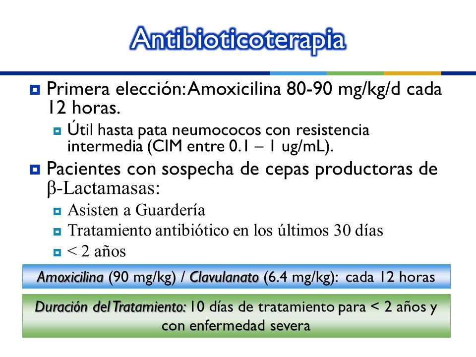 Amoxicilina (90 mg/kg) / Clavulanato (6.4 mg/kg): cada 12 horas
