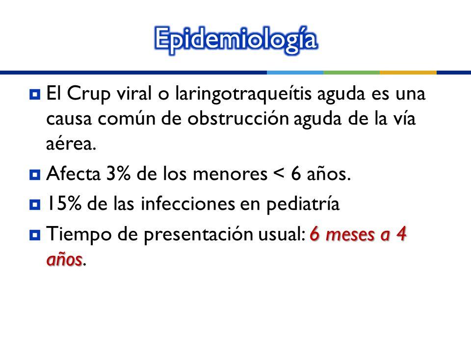 Epidemiología El Crup viral o laringotraqueítis aguda es una causa común de obstrucción aguda de la vía aérea.