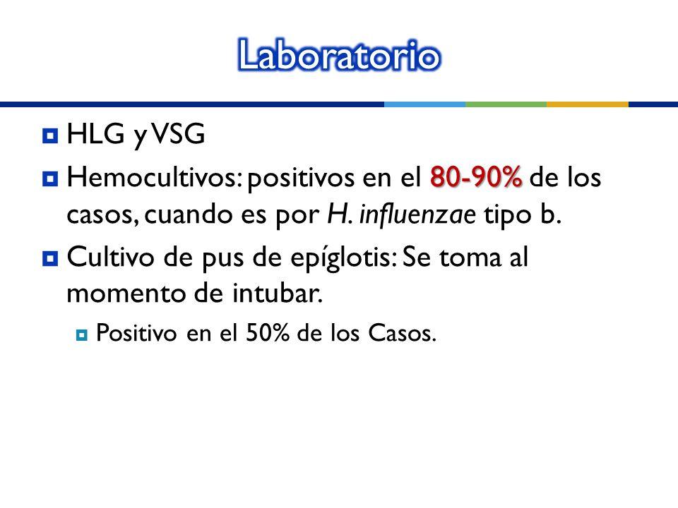 Laboratorio HLG y VSG. Hemocultivos: positivos en el 80-90% de los casos, cuando es por H. influenzae tipo b.