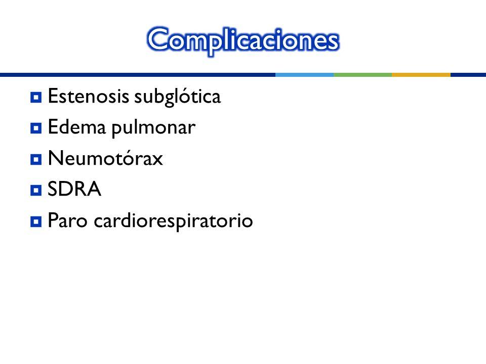 Complicaciones Estenosis subglótica Edema pulmonar Neumotórax SDRA