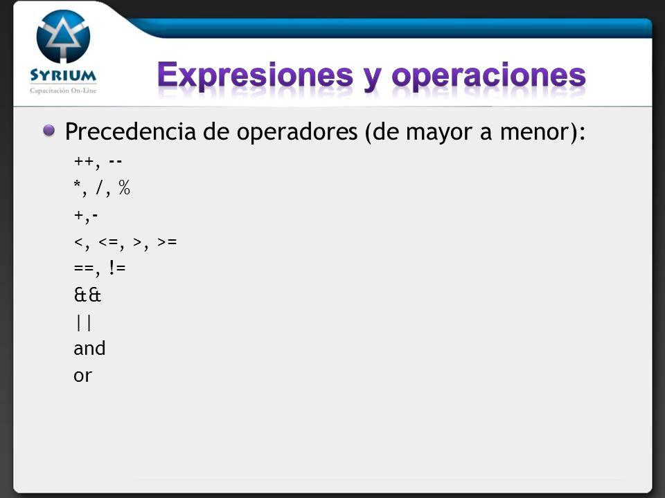Expresiones y operaciones
