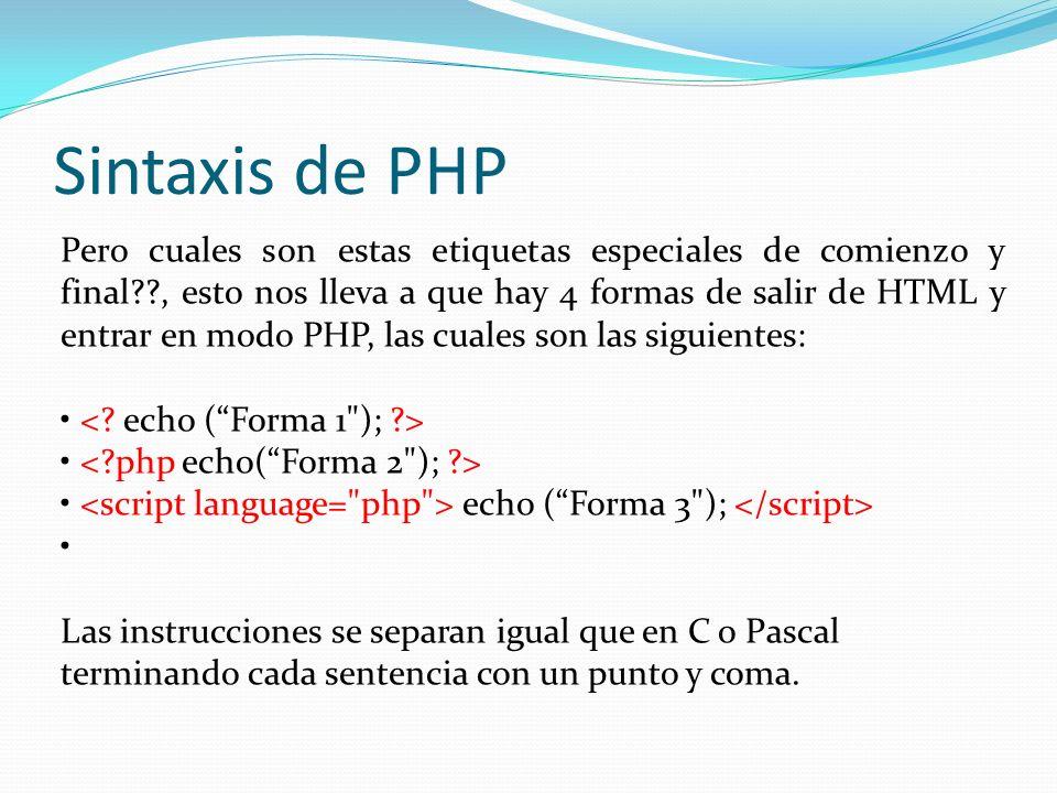 Sintaxis de PHP