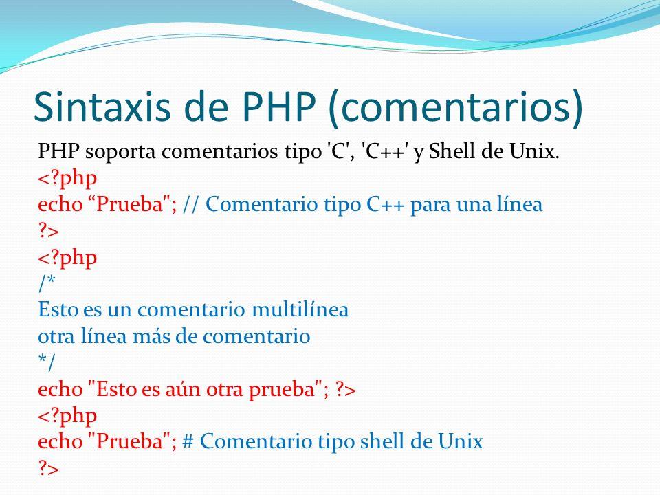 Sintaxis de PHP (comentarios)