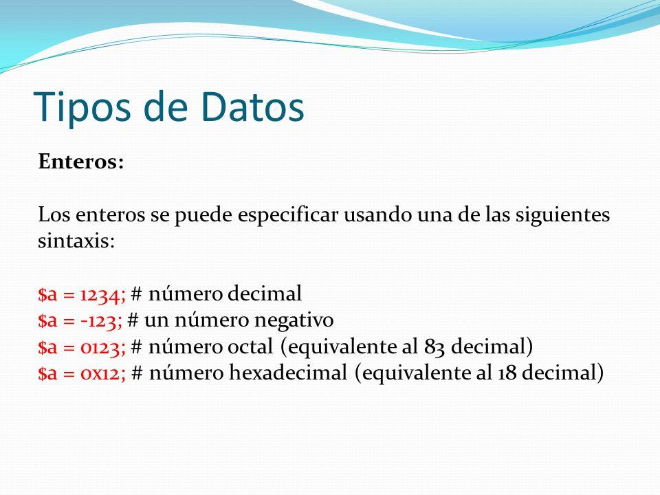 Tipos de Datos Enteros: