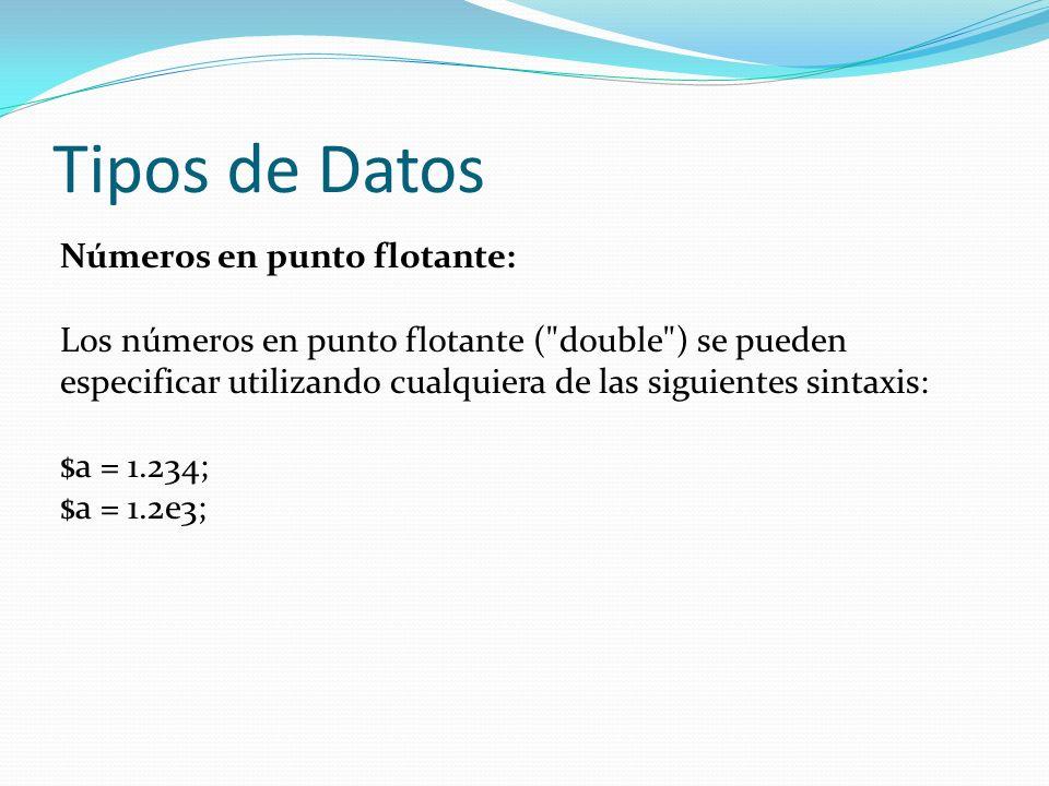 Tipos de Datos Números en punto flotante: