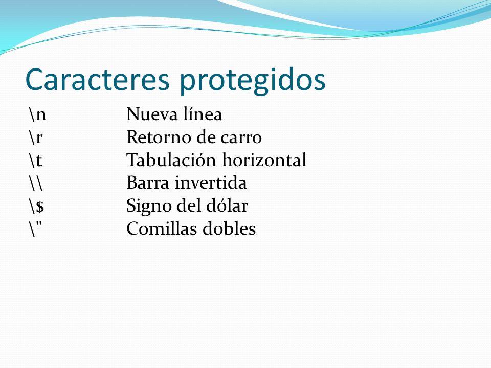 Caracteres protegidos