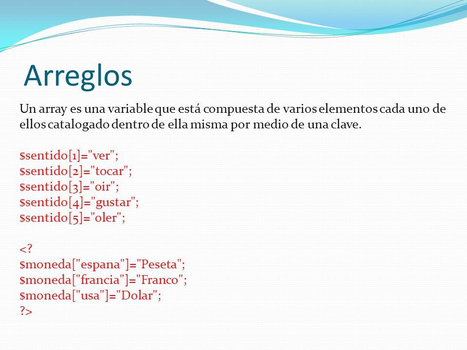 Arreglos Un array es una variable que está compuesta de varios elementos cada uno de ellos catalogado dentro de ella misma por medio de una clave.