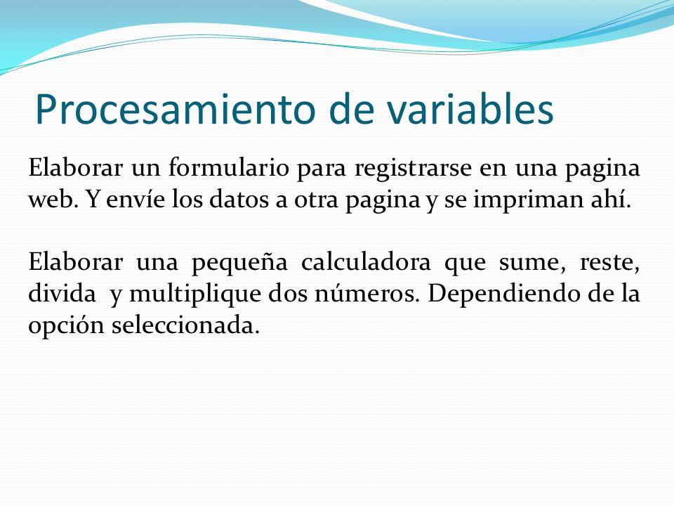 Procesamiento de variables