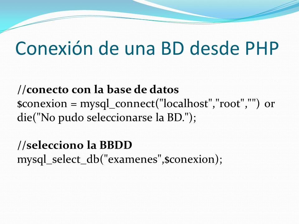 Conexión de una BD desde PHP