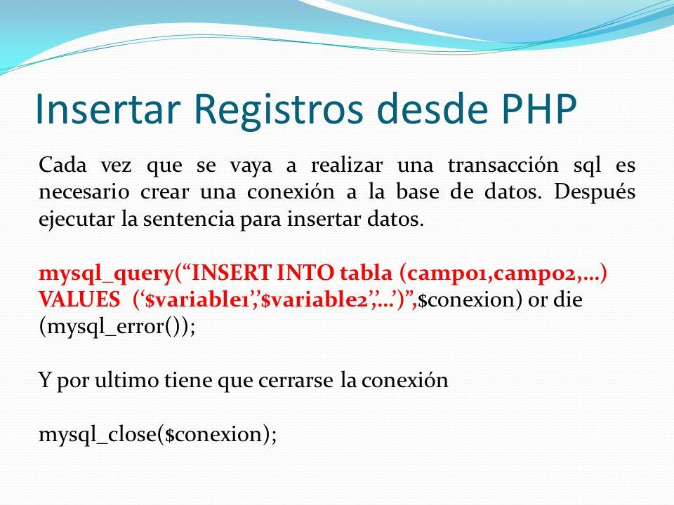 Insertar Registros desde PHP