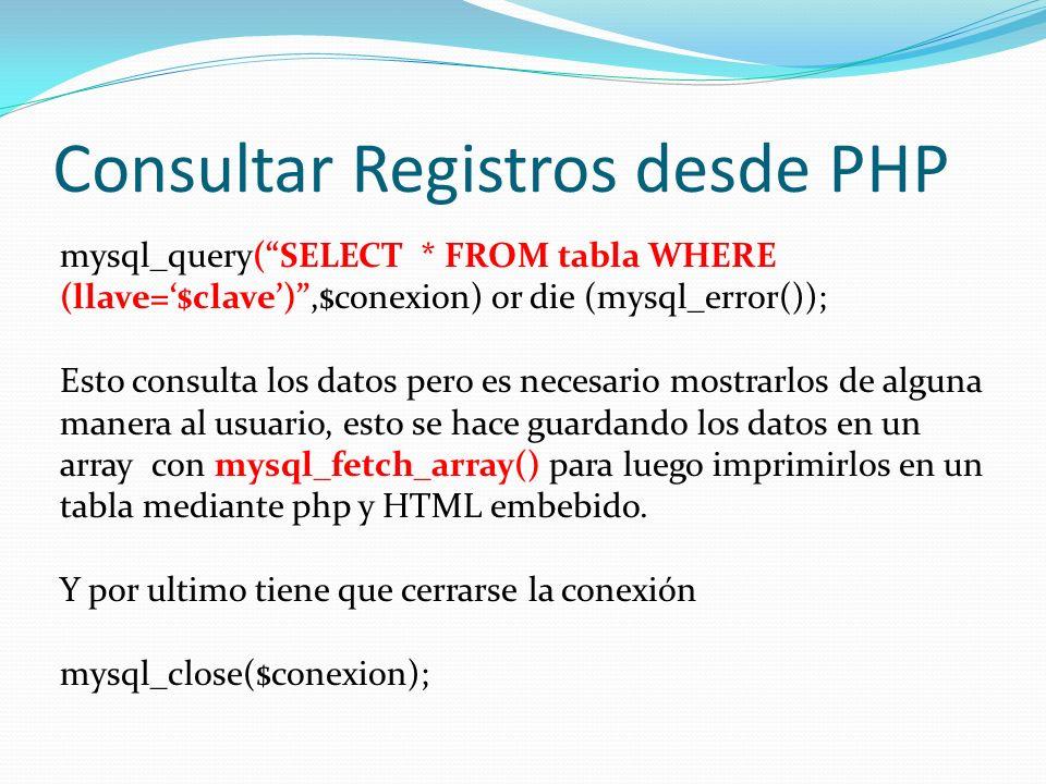 Consultar Registros desde PHP