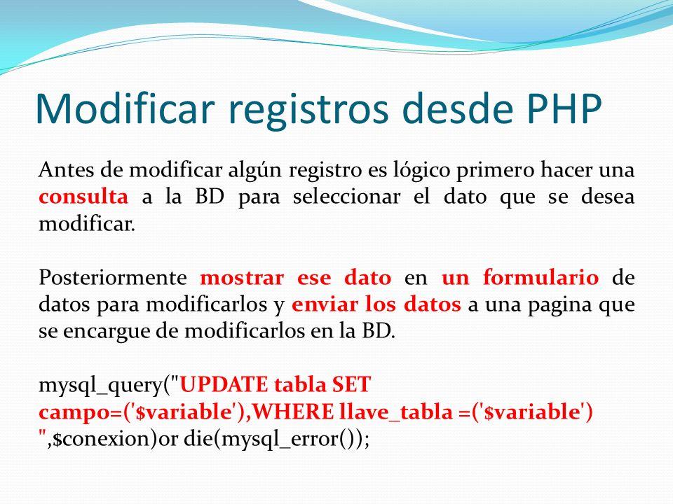 Modificar registros desde PHP