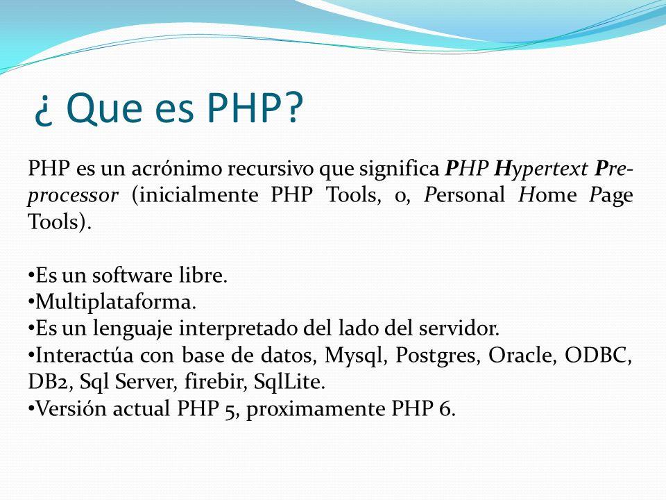 ¿ Que es PHP PHP es un acrónimo recursivo que significa PHP Hypertext Pre-processor (inicialmente PHP Tools, o, Personal Home Page Tools).