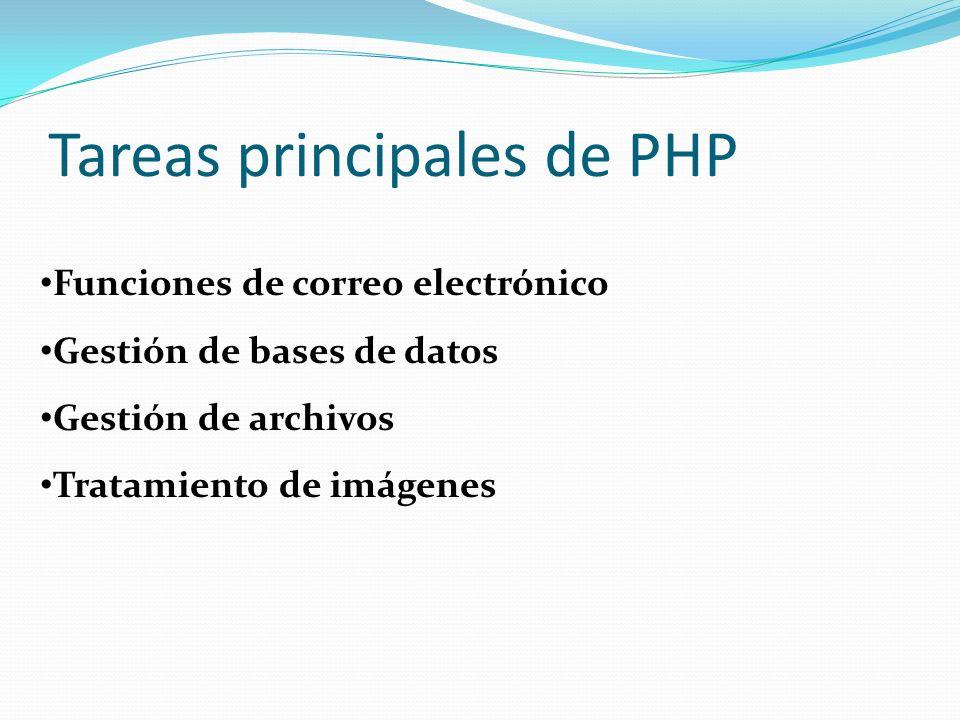 Tareas principales de PHP