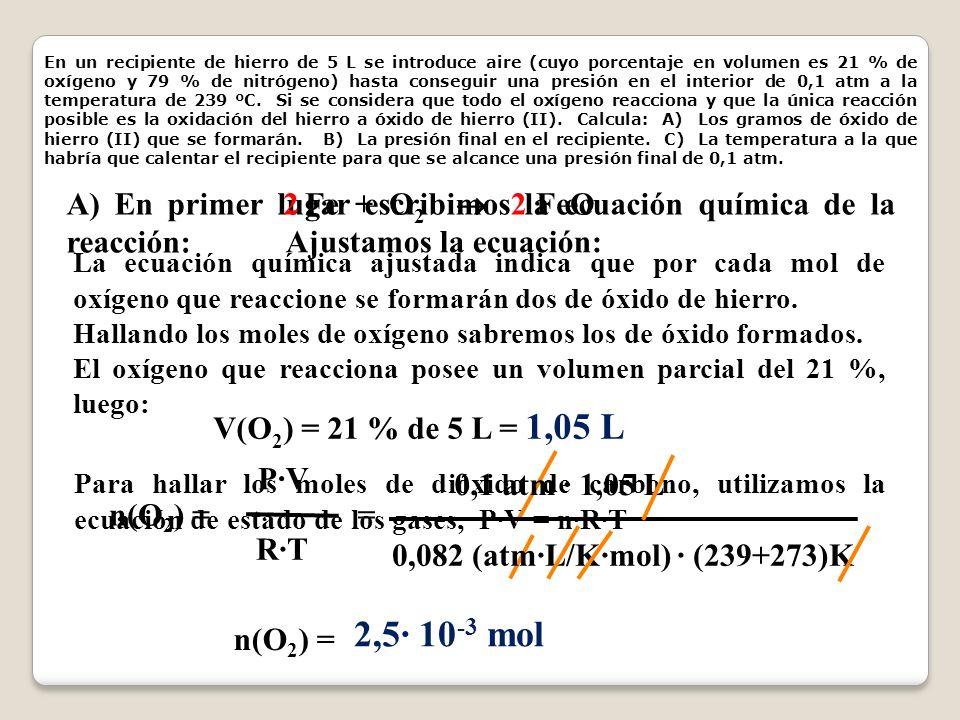 En un recipiente de hierro de 5 L se introduce aire (cuyo porcentaje en volumen es 21 % de oxígeno y 79 % de nitrógeno) hasta conseguir una presión en el interior de 0,1 atm a la temperatura de 239 ºC. Si se considera que todo el oxígeno reacciona y que la única reacción posible es la oxidación del hierro a óxido de hierro (II). Calcula: A) Los gramos de óxido de hierro (II) que se formarán. B) La presión final en el recipiente. C) La temperatura a la que habría que calentar el recipiente para que se alcance una presión final de 0,1 atm.
