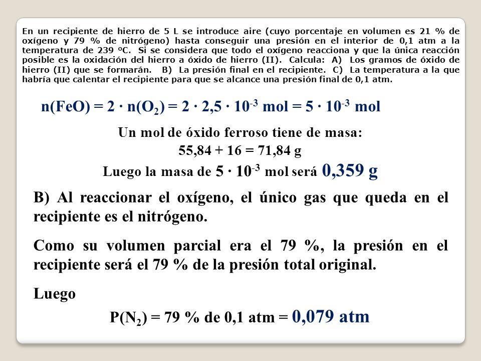 n(FeO) = 2 · n(O2) = 2 · 2,5 · 10-3 mol = 5 · 10-3 mol