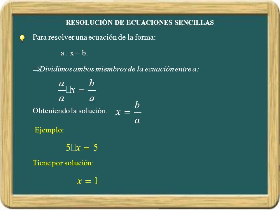 RESOLUCIÓN DE ECUACIONES SENCILLAS
