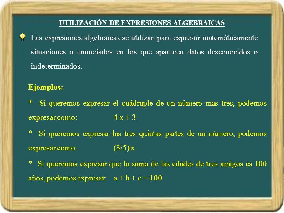 UTILIZACIÓN DE EXPRESIONES ALGEBRAICAS