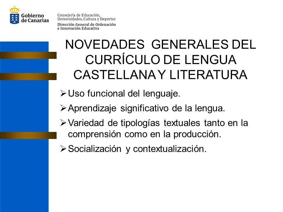 NOVEDADES GENERALES DEL CURRÍCULO DE LENGUA CASTELLANA Y LITERATURA