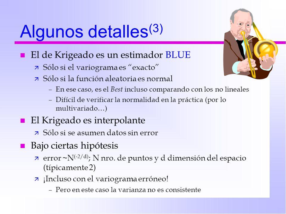 Algunos detalles(3) El de Krigeado es un estimador BLUE