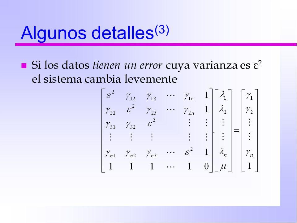 Algunos detalles(3) Si los datos tienen un error cuya varianza es ε2 el sistema cambia levemente