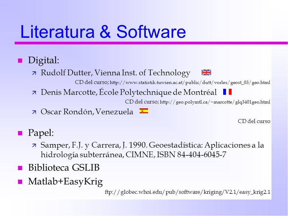 Literatura & Software Digital: Papel: Biblioteca GSLIB Matlab+EasyKrig