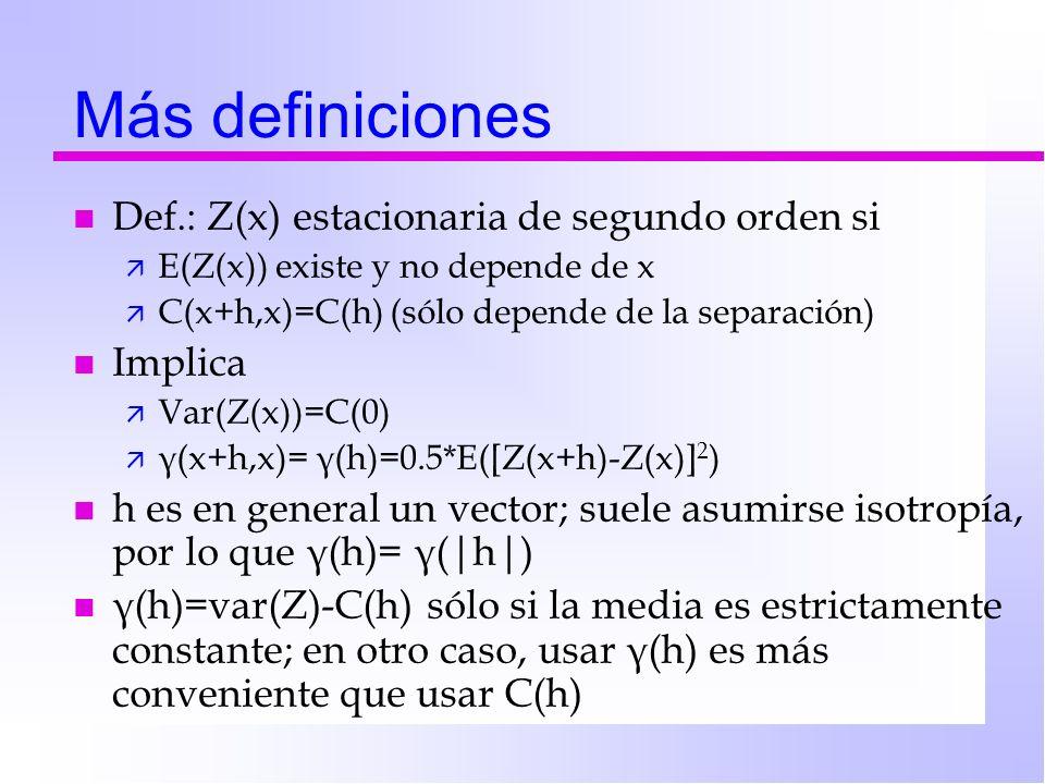 Más definiciones Def.: Z(x) estacionaria de segundo orden si Implica