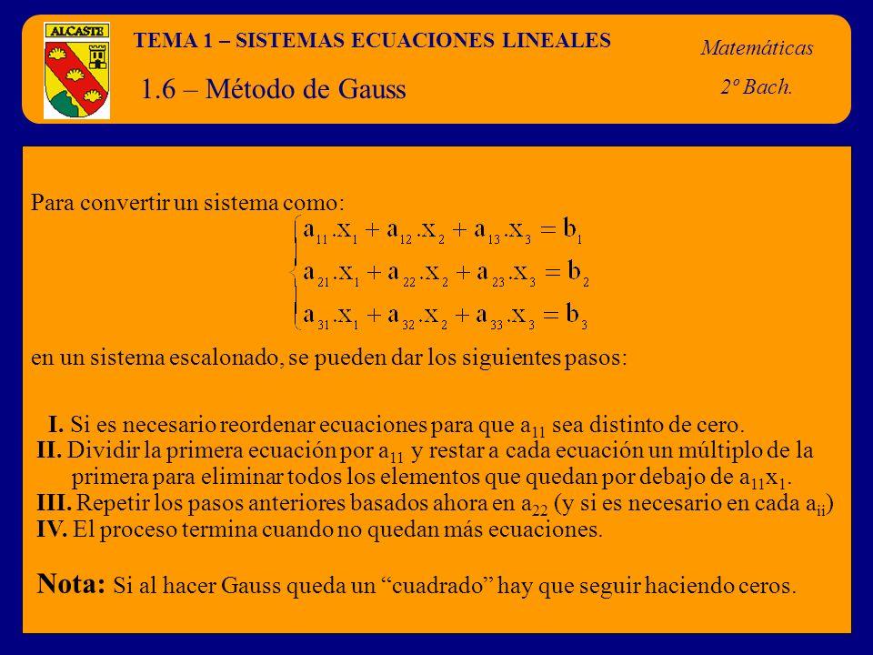 TEMA 1 – SISTEMAS ECUACIONES LINEALES
