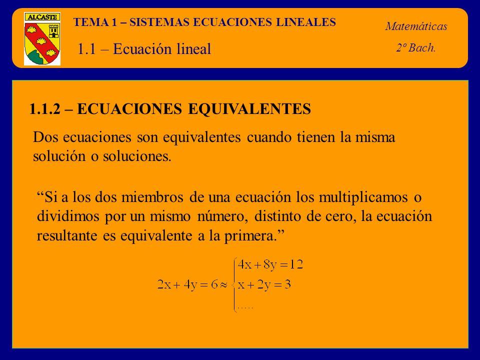 1.1.2 – ECUACIONES EQUIVALENTES