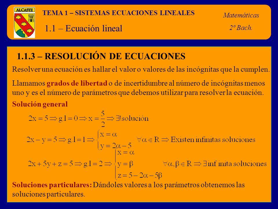 1.1.3 – RESOLUCIÓN DE ECUACIONES