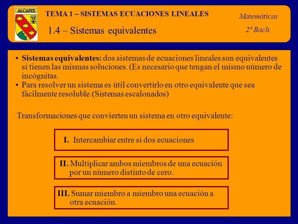 1.4 – Sistemas equivalentes