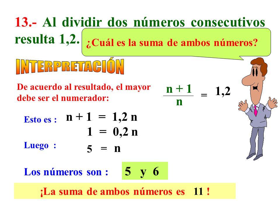 ¡La suma de ambos números es 11 !