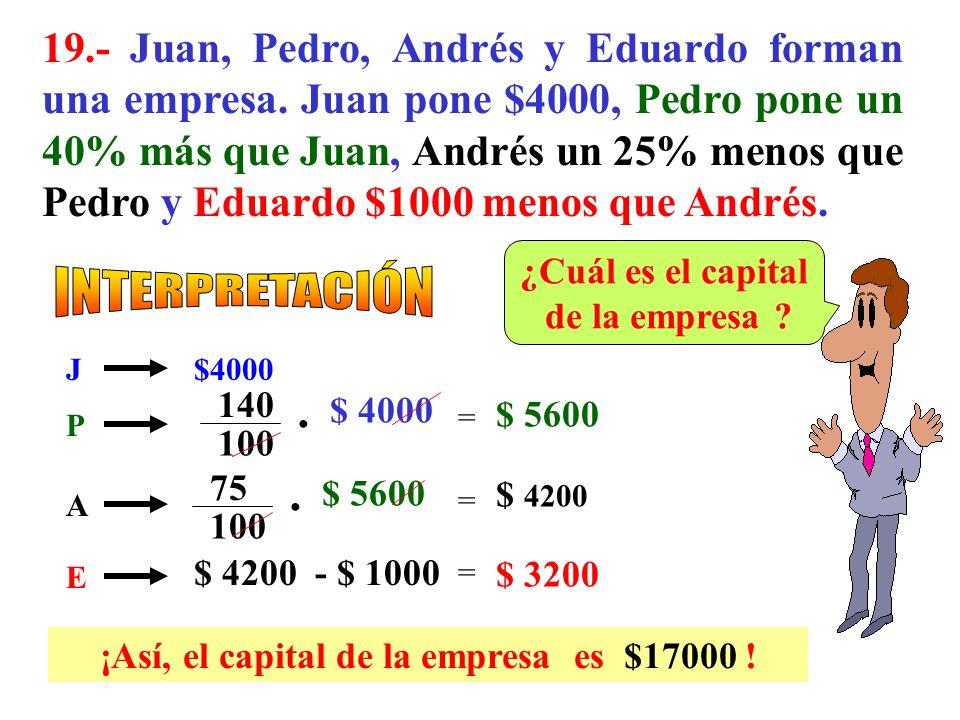 ¡Así, el capital de la empresa es $17000 !