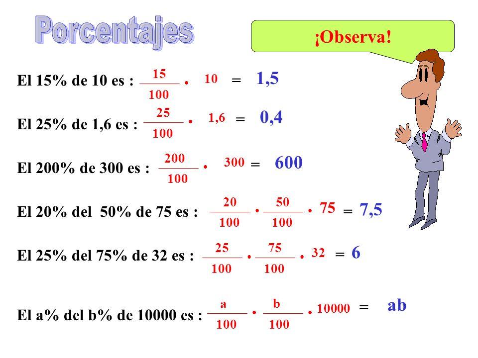 Porcentajes ¡Observa! 1,5 0,4 600 7,5 6 ab El 15% de 10 es : = =