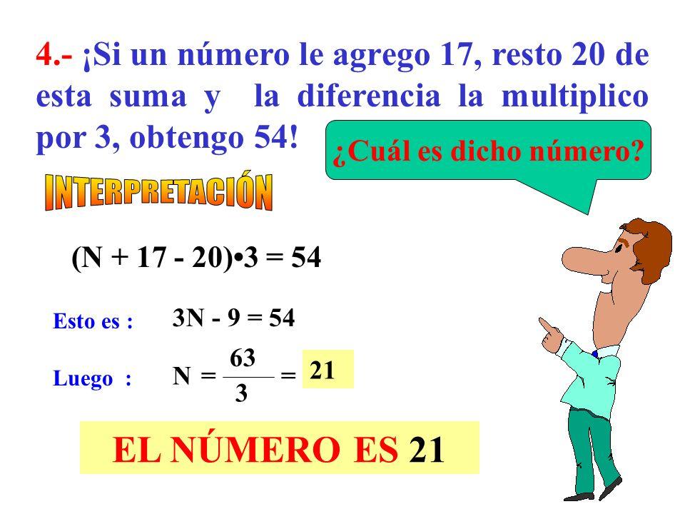 4.- ¡Si un número le agrego 17, resto 20 de esta suma y la diferencia la multiplico por 3, obtengo 54!