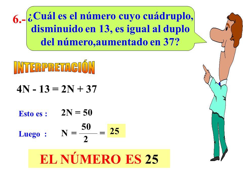 EL NÚMERO ES 25 6.- INTERPRETACIÓN ¿Cuál es el número cuyo cuádruplo,
