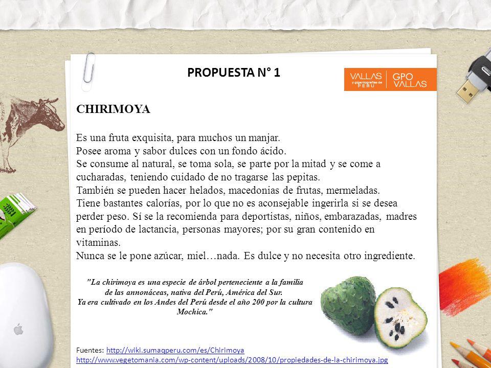 PROPUESTA N° 1 CHIRIMOYA