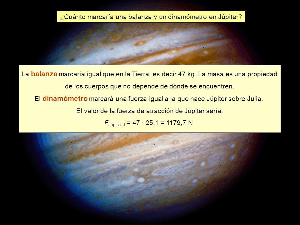 ¿Cuánto marcaría una balanza y un dinamómetro en Júpiter