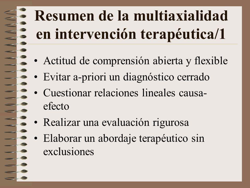Resumen de la multiaxialidad en intervención terapéutica/1