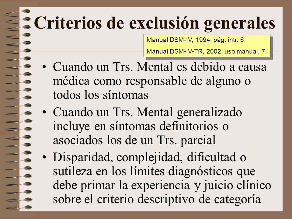 Criterios de exclusión generales