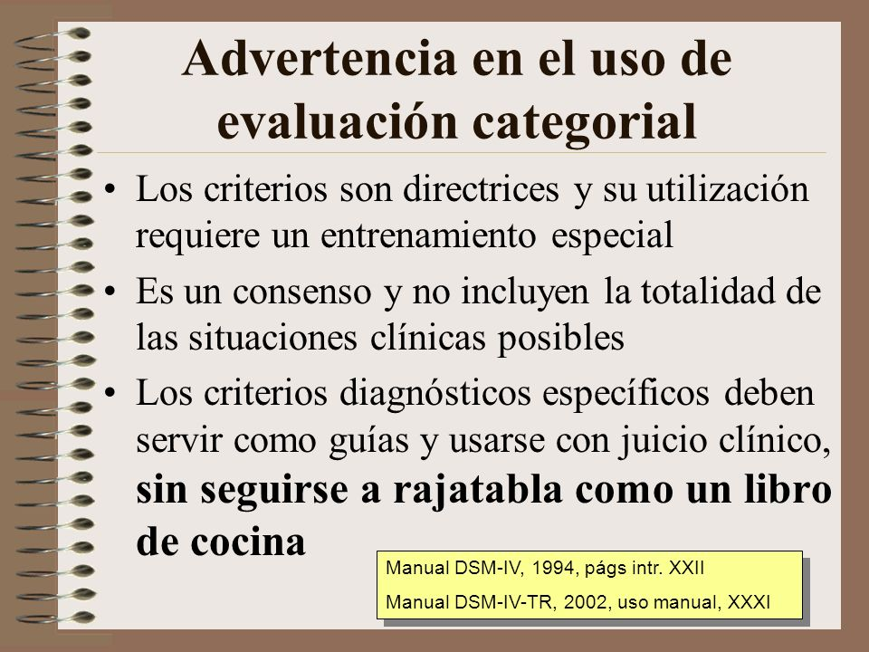 Advertencia en el uso de evaluación categorial