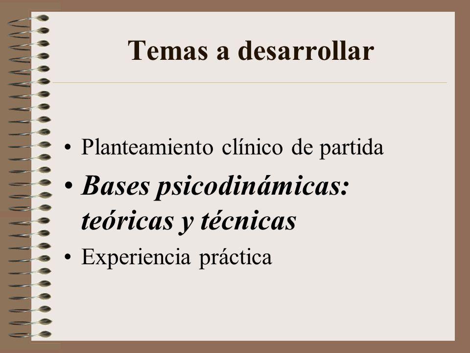 Bases psicodinámicas: teóricas y técnicas