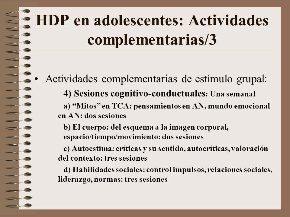 HDP en adolescentes: Actividades complementarias/3