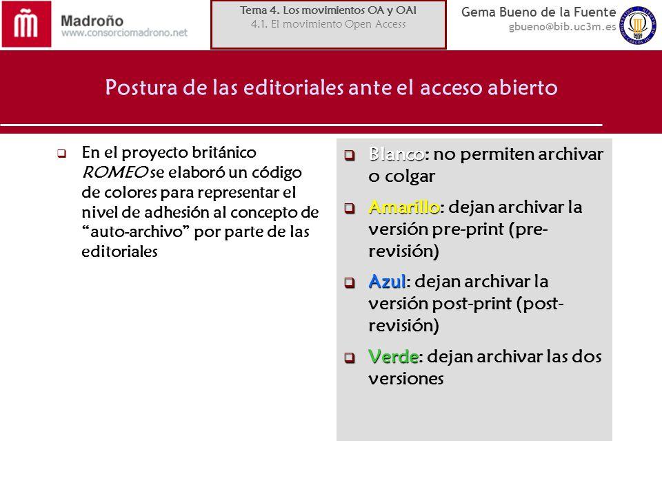 Postura de las editoriales ante el acceso abierto