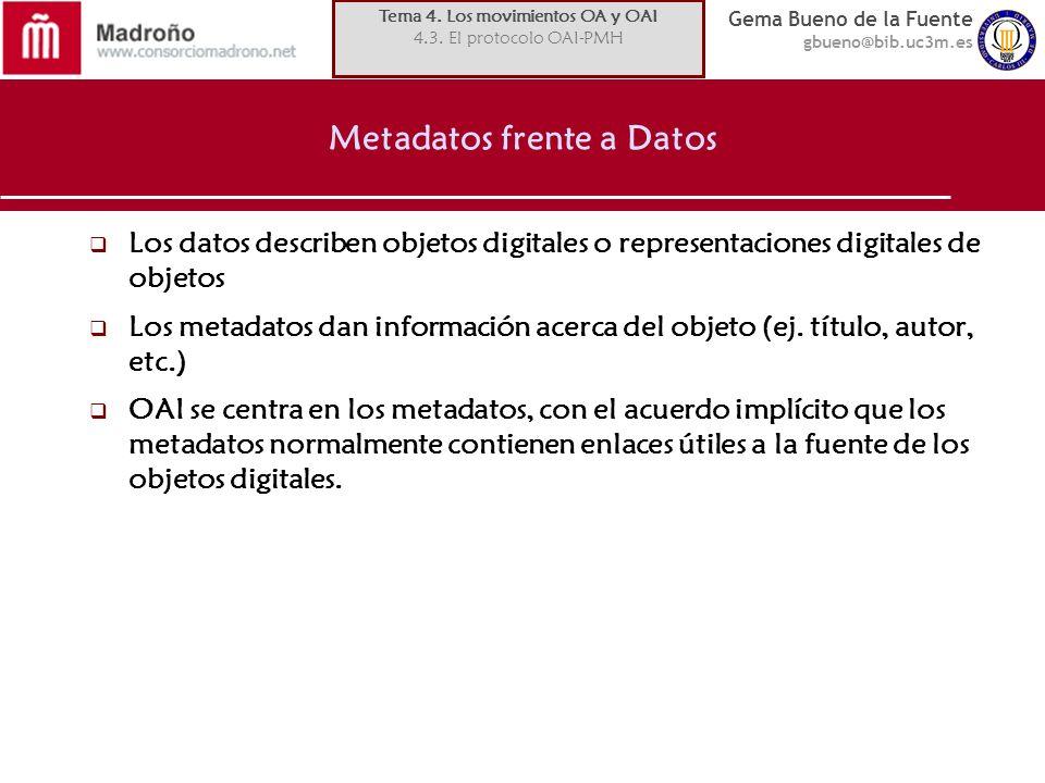 Metadatos frente a Datos