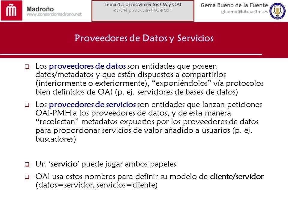 Proveedores de Datos y Servicios