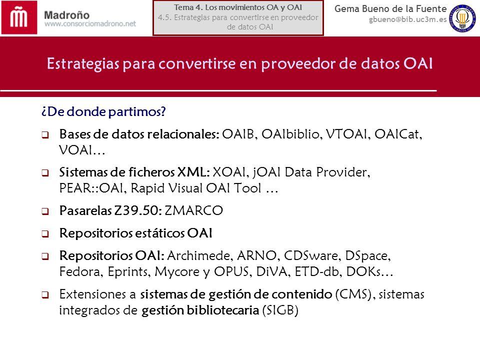 Estrategias para convertirse en proveedor de datos OAI